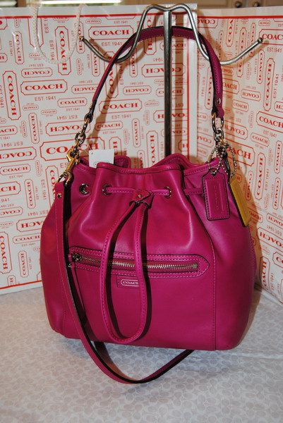 NWT COACH DAISY BRIGHT MAGENTA DRAWSTRING LEATHER CROSSBODY PURSE ...